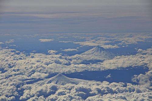 Blick auf die Vulkane der chilenischen Andenkette