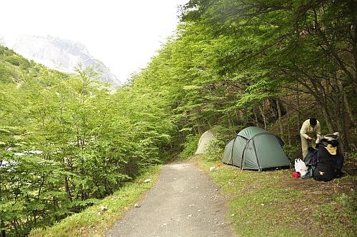 Unser Zelt auf dem Campamento El Chileno