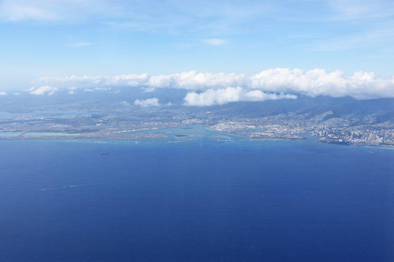 Blick zurück auf Oahu