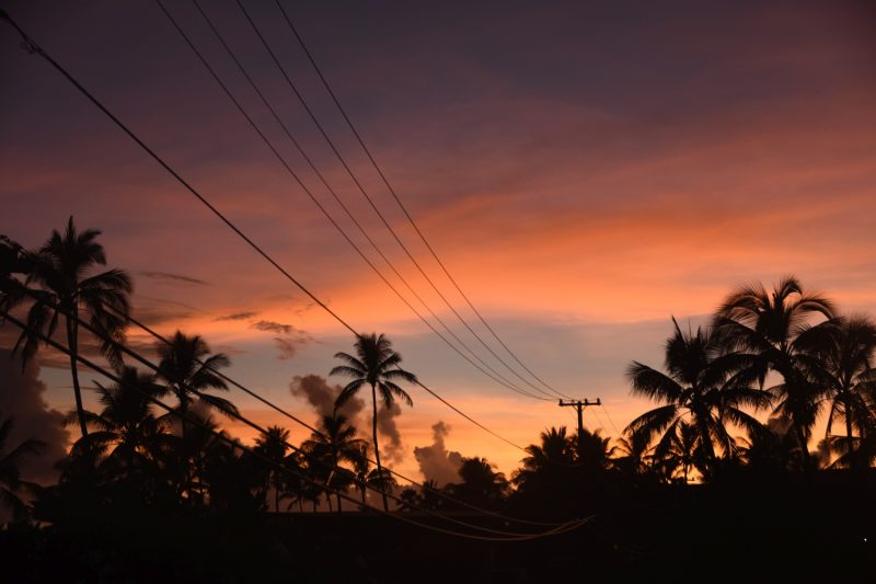 Auch Stromleitungen können ihren Reiz haben - zum Sonnenuntergang