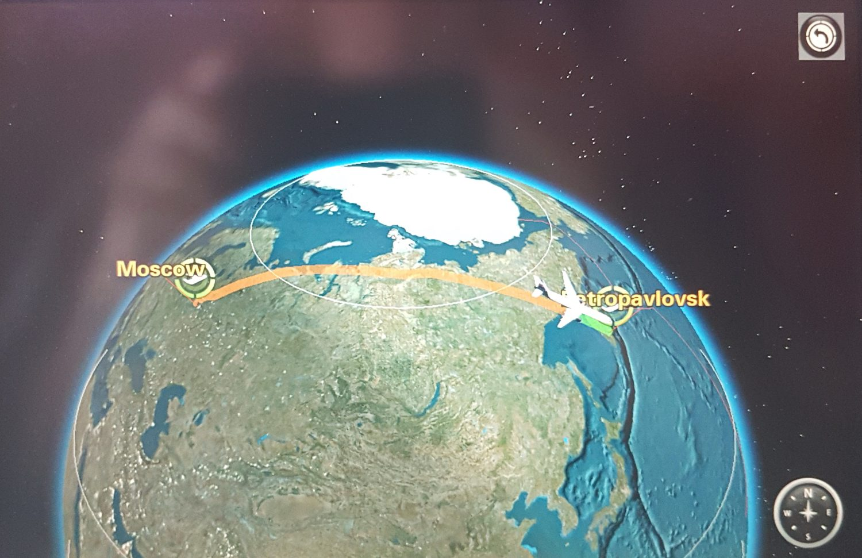 Flugroute nach Kamtschatka
